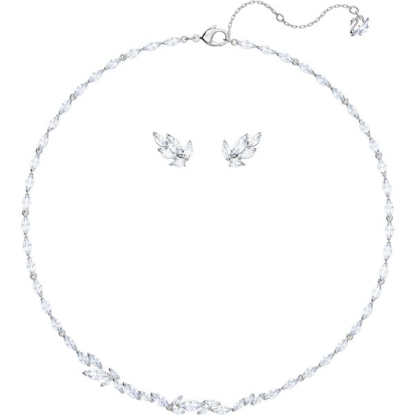 Swarovski Louison Set, Medium, White, Rhodium plating