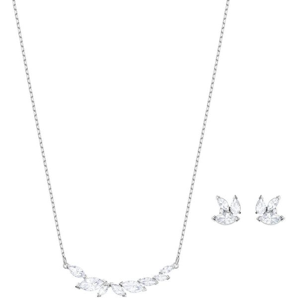 Swarovski Louison Set, White, Rhodium plating