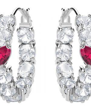 Swarovski Love Hoop Pierced Earrings, White, Rhodium plating