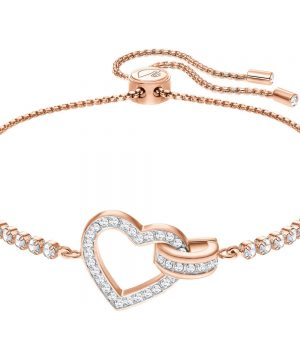 Swarovski Lovely Bracelet, White, Rose gold plating