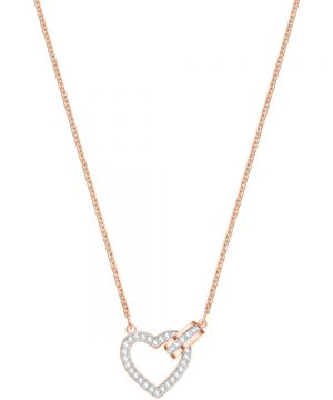 Swarovski Lovely Necklace, White, Rose gold plating