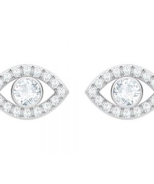 Swarovski Luckily Evil Eye Pierced Earrings, White, Rhodium plating