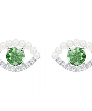Swarovski Luckily Pierced Earrings, Green, Rhodium plating