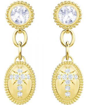 Swarovski Magnetic Pierced Earrings, White, Gold plating