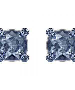 Swarovski Make up Pierced Earrings, Blue, Ruthenium plating