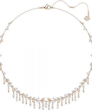 Swarovski Mayfly Necklace, Large, White, Rose gold plating