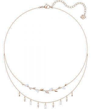 Swarovski Mayfly Necklace, White, Rose gold plating