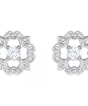 Swarovski Sparkling Dance Flower Pierced Earrings, White, Rhodium plating