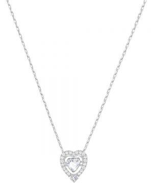 Swarovski Sparkling Dance Heart Necklace, White, Rhodium plating