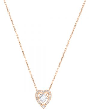 Swarovski Sparkling Dance Heart Necklace, White, Rose gold plating