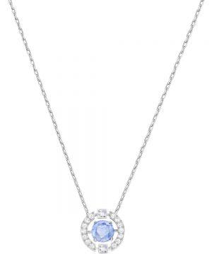 Swarovski Sparkling Dance Round Necklace, Blue, Rhodium plating