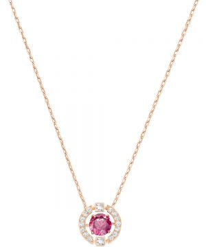 Swarovski Sparkling Dance Round Necklace, Red, Rose gold plating