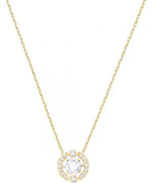 Swarovski Sparkling Dance Round Necklace, White, Gold plating