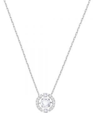 Swarovski Sparkling Dance Round Necklace, White, Rhodium plating