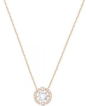 Swarovski Sparkling Dance Round Necklace, White, Rose gold plating