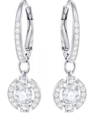 Swarovski Sparkling Dance Round Pierced Earrings, White, Rhodium Plating
