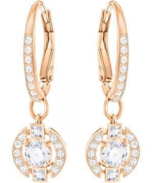 Swarovski Sparkling Dance Round Pierced Earrings, White, Rose Gold Plating