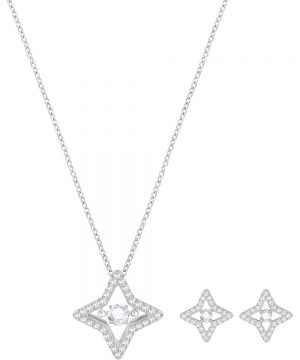Swarovski Sparkling Dance Star Set, Small, White, Rhodium plating