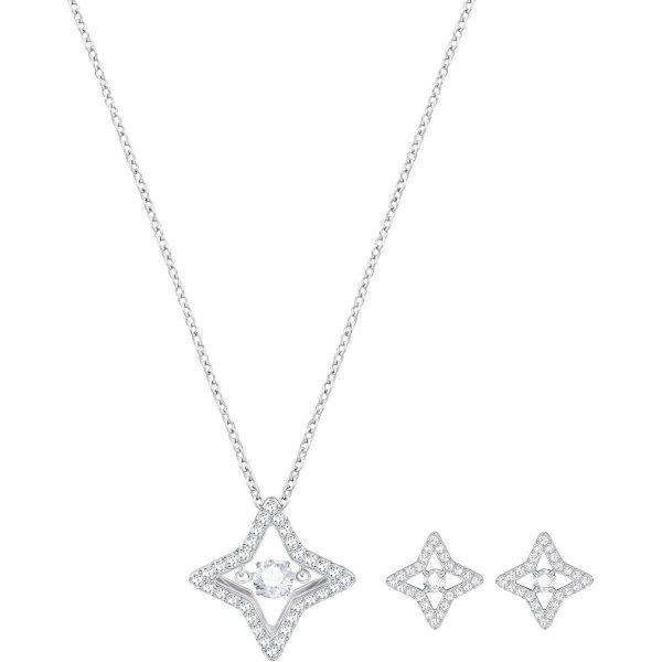 Swarovski Sparkling Dance Star Set, Small, White, Rhodium plating