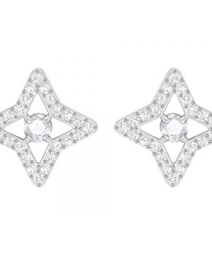 Swarovski Sparkling Dance Star Stud Pierced Earrings, White, Rhodium plating