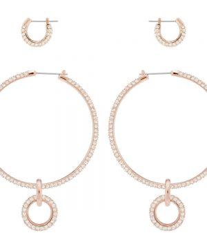 Swarovski Stone Pierced Earring Set, Pink, Rose gold plating