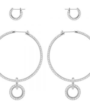 Swarovski Stone Pierced Earring Set, White, Rhodium plating