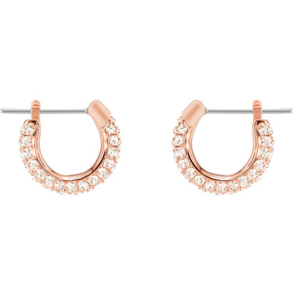 Swarovski Stone Pierced Earrings, Small, Pink, Rose gold plating