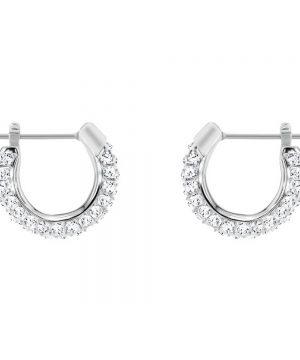 Swarovski Stone Pierced Earrings, Small, White, Rhodium plating