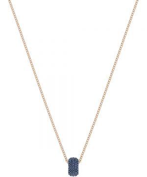 Swarovski Stone Round Pendant, Blue, Rose gold plating
