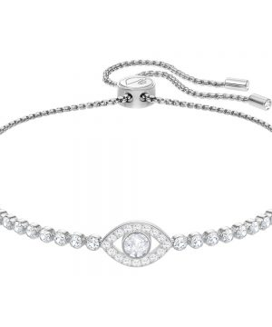 Swarovski Subtle Evil Eye Bracelet, White, Rhodium plating