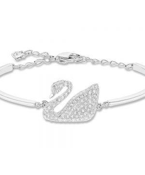 Swarovski Swan Bangle, White, Rhodium Plating
