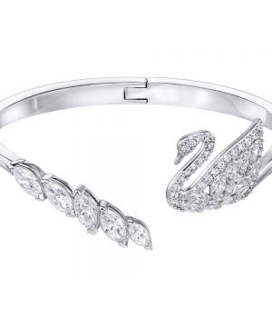 Swarovski Swan Lake Bangle, White, Rhodium Plating