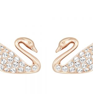 Swarovski Swan Mini Pierced Earrings, White, Rose Gold Plating