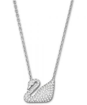 Swarovski Swan Necklace, White, Rhodium plating