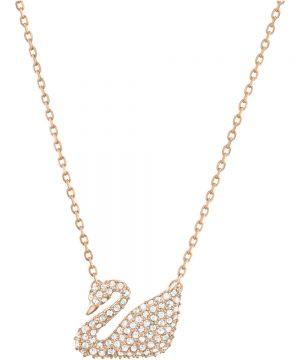 Swarovski Swan Necklace, White, Rose gold plating