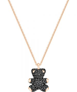 Swarovski Teddy 3D Pendant, Black, Rose gold plating