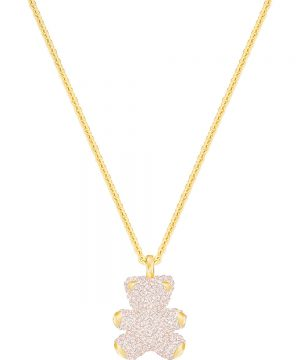 Swarovski Teddy 3D Pendant, Pink, Gold plating