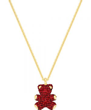 Swarovski Teddy 3D Pendant, Red, Gold plating