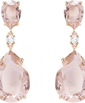 Swarovski Vintage Drop Pierced Earrings, Pink, Rose gold plating