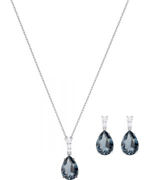 Swarovski Vintage Set, Teal, Rhodium plating