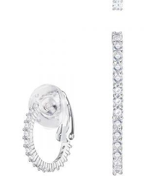 Swarovski Vittore Pierced Earrings, White, Rhodium plating