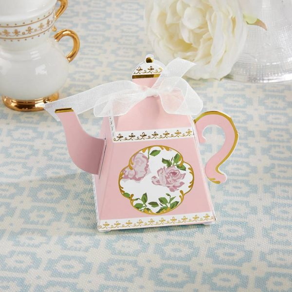 Tea Time Whimsy Teapot Favor Box - Pink (Set of 24)