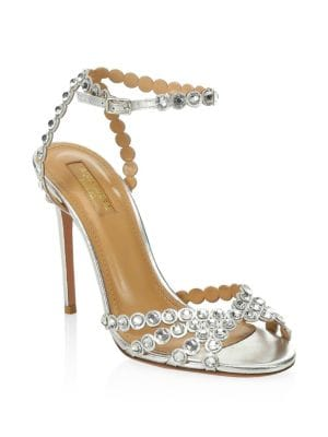 Tequila Crystal Studded Leather Sandals