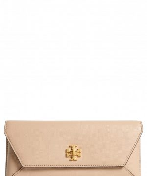 Tory Burch Kira Leather Envelope Clutch - Brown