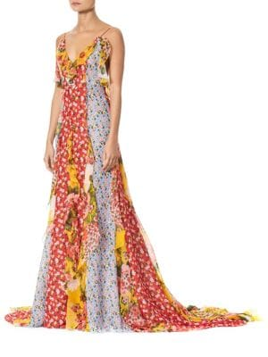 V-Neck Patchwork Floral Ruffle Gown