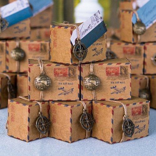 Vintage Airmail Favor Box Kit