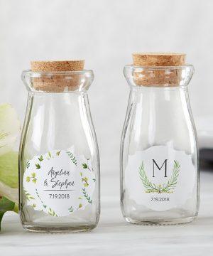Vintage Milk Bottle Favor Jar - Botanical Garden (Set of 12) (Personalization Available)