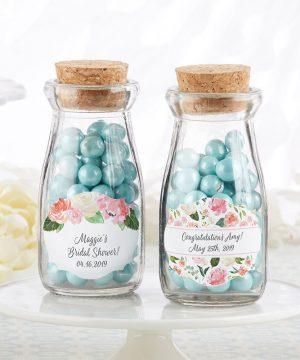 Vintage Milk Bottle Favor Jar - Bridal Brunch (Set of 12) (Personalization Available)