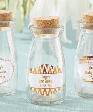 Vintage Milk Bottle Favor Jar - Copper Foil (Set of 12) (Personalization Available)