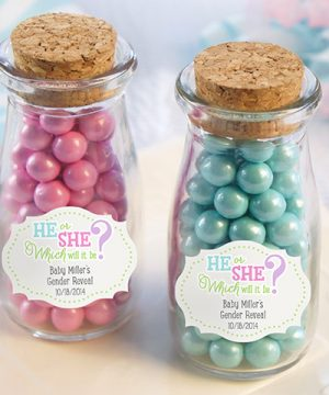 Vintage Milk Bottle Favor Jar - Gender Reveal (Set of 12) (Personalization Available)
